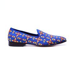 Men's Blue Aztec Slipper