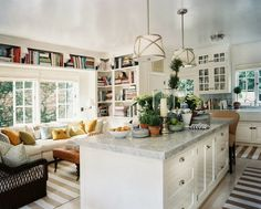 Love this kitchen sitting area - great spot for a cup of coffee (or a cocktail.) Color Outside the Lines: Twenty Questions with Mark D. Sikes