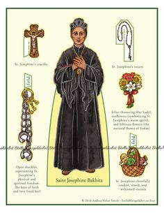 Saint Josephine Bakhita Paper Doll (Color and BnW)