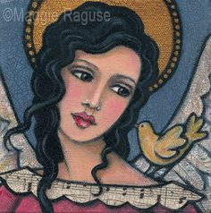 "ORIGINAL Mixed Media Folk Art Angel Painting: ""Bird on My Shoulder"" by Maggie Raguse. $65.00, via Etsy."