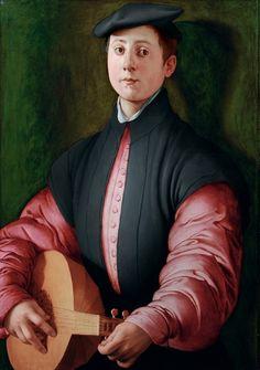 Jacopo Pontormo (Jacopo Carucci, dit) Pontorme, 1494 – Florence, 1557 Portrait d'un joueur de luth,  Vers 1529-1530, Huile sur bois Collection Particulière  © Eckart Lingenauber