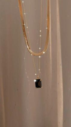 18K Gold Filled Black Onyx Necklace