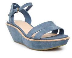 camper Damas Blue Suede Strap Wedges