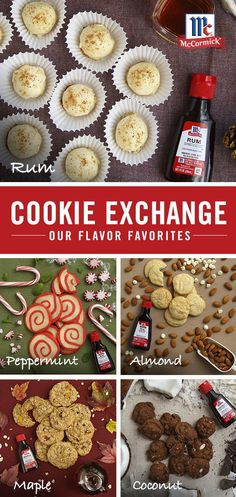 These easy and delicious cookies featuring McCormick extracts are the perfect addition to any holiday cookie exchange! Which cookie will you bake this season? Christmas Party Food, Christmas Sweets, Holiday Recipes, Christmas Brunch, Holiday Baking, Christmas Baking, Cookie Desserts, Cookie Recipes, Biscuits