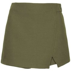 TOPSHOP Textured Wrap Skort featuring polyvore, fashion, clothing, skirts, mini skirts, shorts, bottoms, skort, khaki, topshop, green wrap skirt, khaki mini skirt, geometric print skirt and green skirt