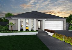 """Linden with Grange Facade. Urban Fringe """"Biscotti"""" brick photoshopped in. House Facades, Facade House, Outside House Colors, Shale Grey, House Color Palettes, Driveway Design, Roof Colors, Grey Houses, Brick Facade"""