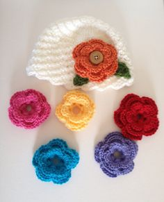 Crochet Baby Hat with Interchangeable Flower  by CrochetbyBennie
