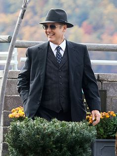 Hard at work: James Spader films scenes for the upcoming season of NBC's The Blacklist in Yonkers, New York, on Thursday.
