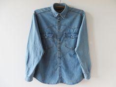 Vintage Light Blue Jeans Shirt Men Denim Shirt Long Sleeve Shirt Cotton Button up Shirt Washed out Denim Jean Jacket Boyfriend Shirt Medium by YourEclecticStreet on Etsy