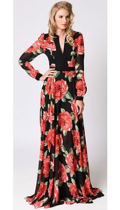 Retro 1970s Style Black & Pink Floral Long Sleeve Chiffon Maxi Dress
