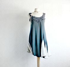 Dark Gray Summer Dress Bohemian Clothing Reconstructed Eco Friendly Clothes Lace Accent Gypsy Dress Small Medium 'WYNN' on Etsy, $78.65