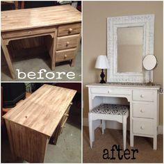 Old desk turned into super cute vanity...