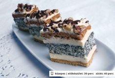 Francia mákos szelet Hungarian Desserts, Hungarian Recipes, Hungarian Food, Sweets Recipes, Cake Recipes, Cooking Recipes, My Favorite Food, Favorite Recipes, Xmas Desserts
