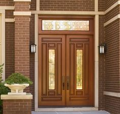 """JELD-WEN  Custom Wood Front Entry Door  Genuine Mahogany Wood  Russet Stain Color  Rectangular Transom  """"Q"""" Glass Design with Brass Caming  Door Series 302"""