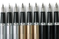 The Pilot Metropolitan line -- totally affordable, yet high quality. A great starter pen, or a workhorse pen for the fountain pen admirer who gets paranoid about carrying around their nicest ones. Fountain Pen Nibs, Jet Pens, Stationery Pens, Rollerball Pen, Pen And Paper, Stationary, Writing Instruments, Pen Pals, Calligraphy