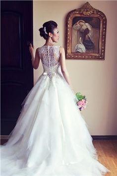 Mode de Bal Col Bateau Traîne tribunal Tulle Robe de Mariée