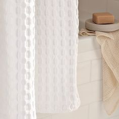 Waffle Grommet Shower Curtain   White | West Elm