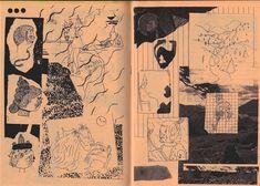 "a spread from my collab zine ""cold flickr / dim glow"" w/ simon hanselmann"