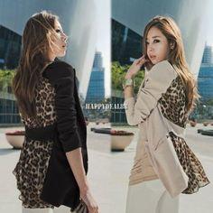 Slim leopard chiffon suit blazer outerwear coat 2 colors