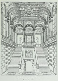 Rendering of the Grand Staircase of the Municipal Salons at the Hôtel de Ville, Paris Architecture Antique, Architecture Mapping, Architecture Concept Drawings, Classical Architecture, Historical Architecture, Architecture Design, Architecture Diagrams, Architecture Portfolio, Building Illustration