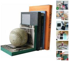 Baseball | 23 Lovely DIY Bookends To Adorn Your Shelves