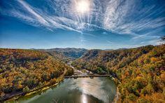 new river, небо, река, сша, мост, лес, солнце