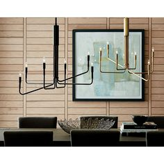 Sale ends soon. Our exclusive Blake Tovin design edits down the elaborate chandelier to its sleekest elements, sending out six gracefully thin tubes of matte bronze finish steel from its central column. Mid Century Sectional, Sectional Sofa, Dining Table Lighting, Slanted Ceiling, Bronze Chandelier, Pendant Lighting, Candelabra Bulbs, White Rug, Crate And Barrel