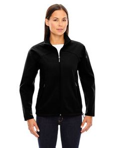 North End Ladies Height Performance Soft Shell Jacket. 78034 spandex bonded with polyester anti-pill fleece, gsm performance stretch soft shell with 10000 mm breathability Partial lining: polyester tricot City North, Scrub Jackets, Tech Fleece, Winter Jackets Women, Lightweight Jacket, Jackets Online, Hooded Jacket, Street Style, Lady