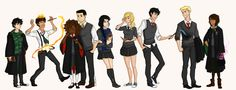 OMG YES! Annabeth and Reyna from Ravenclaw Frank from Hufflepuff Nico and Piper from Slytherin Hazel, Jason and Percy from Gryffindor