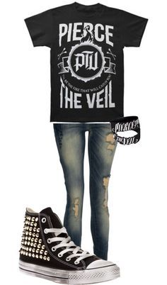 Pierce The Veil tee and bracelets and skinny jeans with converse <3