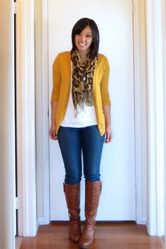 jeans, brown boots, mustard cardi, leopard print scarf