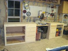 "Miter Saw Bench by Teresa Mellon -- Homemade miter saw bench constructed from surplus pine. Intended to function as a base unit for a Dewalt 12"" compound miter saw. http://www.homemadetools.net/homemade-miter-saw-bench"