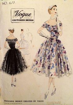 1950's Vintage Vogue Couturier Design Bare Shoulder Dress Sewing Pattern #677