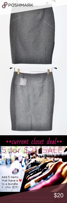 ❤️••asos gray pencil skirt with belt loops•• •brand: ASOS   •size: 6 (will fit a US 2-4, it's British sizing)  •condition: new with tags   •features      •half zip back      •belt loops      •has some stretch, but not a lot   Cute skirt for work or can be styled for a evening out!  This is a 5 for $25 item in my closet! Bundle up 5 items from my closet with a ❤️ in the title and offer $25. Check out with other items I have included in my 5 for $25 sale! Clearing out for spring boutique…