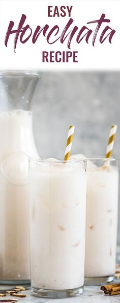 This easy horchata recipe is refreshing, creamy and easy to make. Made from rice, almonds and cinnamon, this authentic homemade Mexican drink is dairy free, gluten free, vegetarian and vegan. #horchata #dairyfree #vegan #cincodemayo #summer #drinks