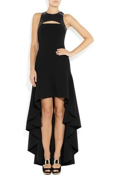 Michael Kors|Stretch wool-crepe and leather harness gown|NET-A-PORTER.COM