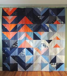 Gorgeous geometric quilt. Love the combo of flying geese and diamonds.  Blog post here: http://slostudio.ca/post/138581520822/quilt-for-my-brother-progress