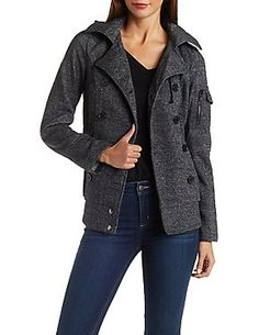 Fleece Jacket with Ribbed Hems: Charlotte Russe