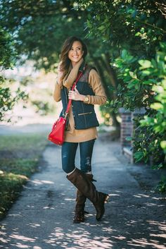 Sequins & Things Casual style cowl neck sweater under puffer vest and riding boots