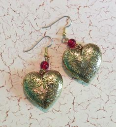 Heart Earrings Big & Chunky 24 Karat Gold Plate Ruby Red Glass Beads Valentine Valentines Day Love Romance Hearts Gift EG493 by NostalgicCharm on Etsy
