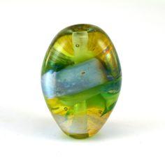 Satin Green Tab Handmade Glass Lampwork Bead by GlassyFields on Etsy
