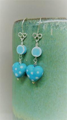 Blue polka dot hearts sterling silver earrings £15.00