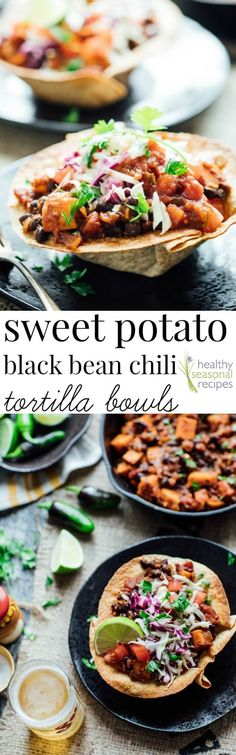 You Have Meals Poisoning More Normally Than You're Thinking That Sweet Potato And Black Bean Chili Tortilla Bowls-A Vegetarian Comfort-Food Make-Over. Vegetarian Comfort Food, Vegetarian Recipes, Healthy Recipes, Vegetarian Mexican, Entree Recipes, Healthy Meals, Black Bean Chili, No Bean Chili, Black Beans