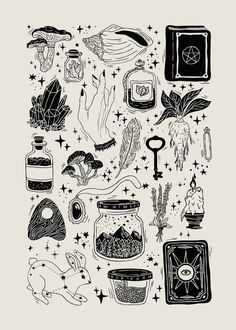 Trendy Line Art Drawings Flowers Ink Ideas Flash Art Tattoos, Tattoo Flash Sheet, Kritzelei Tattoo, Tattoo Drawings, Tattoo Sketches, Wicca Tattoo, Witchcraft Tattoos, Witchcraft Symbols, Witch Symbols