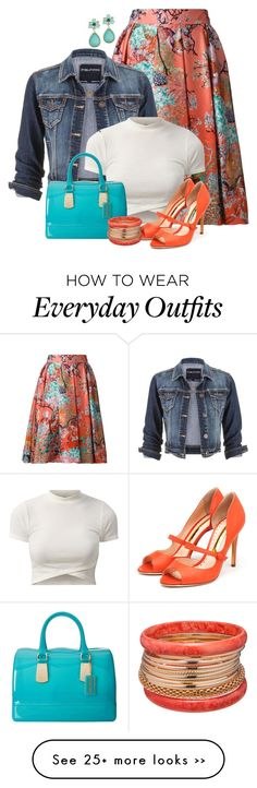 """""""Denim jacket and floral skirt"""" by ginga1203 on Polyvore---minus the shoes and handbag"""