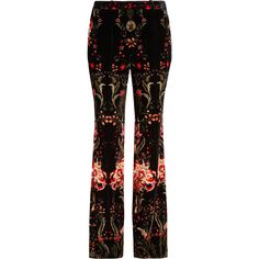 Roberto Cavalli Printed velvet wide-leg pants (1,165 CAD) ❤ liked on Polyvore featuring pants, bottoms, roberto cavalli, colorful pants, colorful wide leg pants, velvet trousers and star print pants