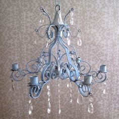 Seaside Blue Rusty Patina Scroll Candle Chandelier MADE TO ORDER. $134.00, via Etsy.