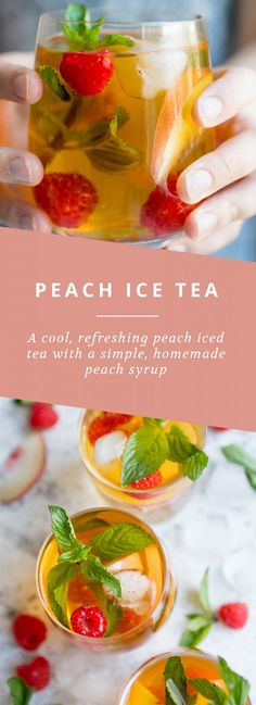 A cool, refreshing peach ice tea with a simple, homemade peach syrup