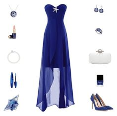 """""""Contest: Blue & White Seastar Prom Outfit"""" by billsacred ❤ liked on Polyvore featuring Gianvito Rossi, Oscar de la Renta, Effy Jewelry, Tiffany & Co., Butter London, Estée Lauder, Thierry Mugler and Maybelline"""