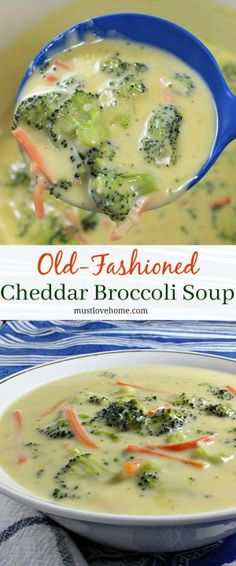 Old Fashioned Cheddar Broccoli Soup is cheesy comfort food and healthy vegetables served in a hearty bowl of soup. This classic recipe is warm and satisfying, and ready in minutes! Cheddar Broccoli Soup, Broccoli Soup Recipes, Potato Recipes, Chili Recipes, Chowder Recipes, Drink Recipes, Simple Food Recipes, Healthy Vegetable Recipes, Healthy Vegetables